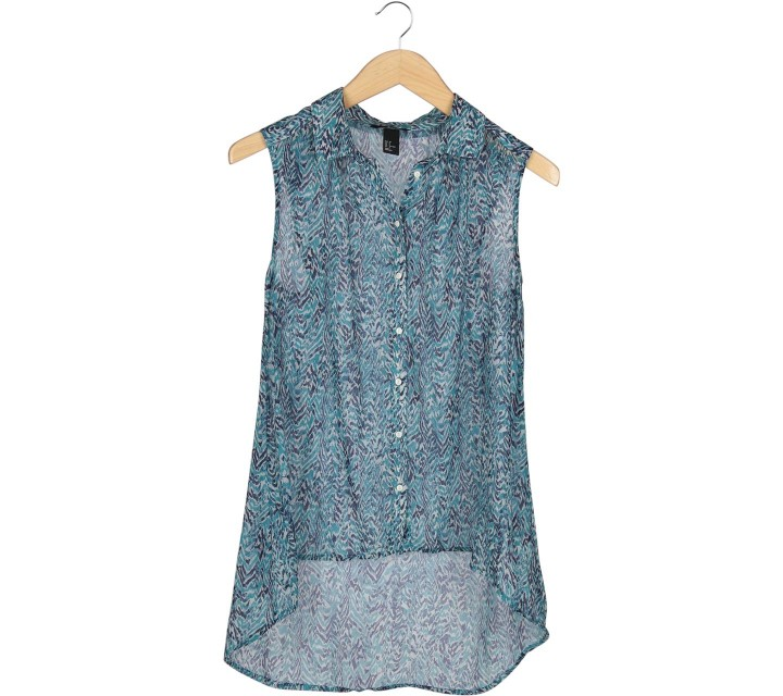 H&M Blue And Dark Blue Patterned Sleeveless