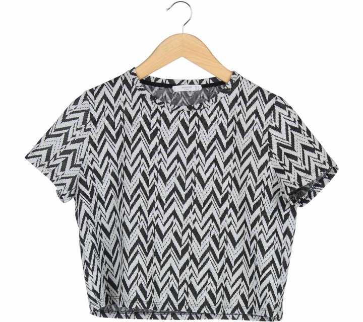 Mango Black And White Zig-Zag Textured Blouse
