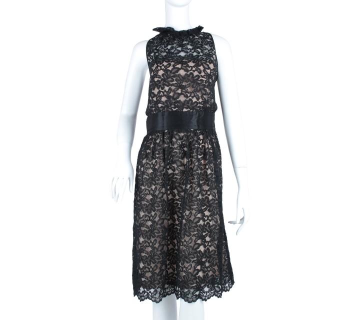 Banana Republic Black And Cream Lace Sleeveless Back Cut Out Midi Dress