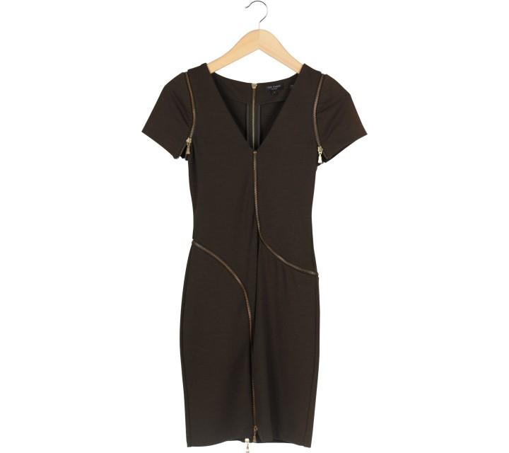 Ted Baker Dark Green Zipper Mini Dress