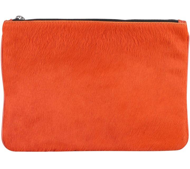 Zara Orange Fur Pouch