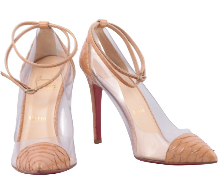 Christian Louboutin Brown Snakeskin Ankle Strap Heels