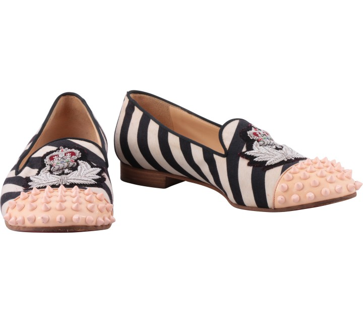 Christian Louboutin Multi Colour Striped Studded Flats