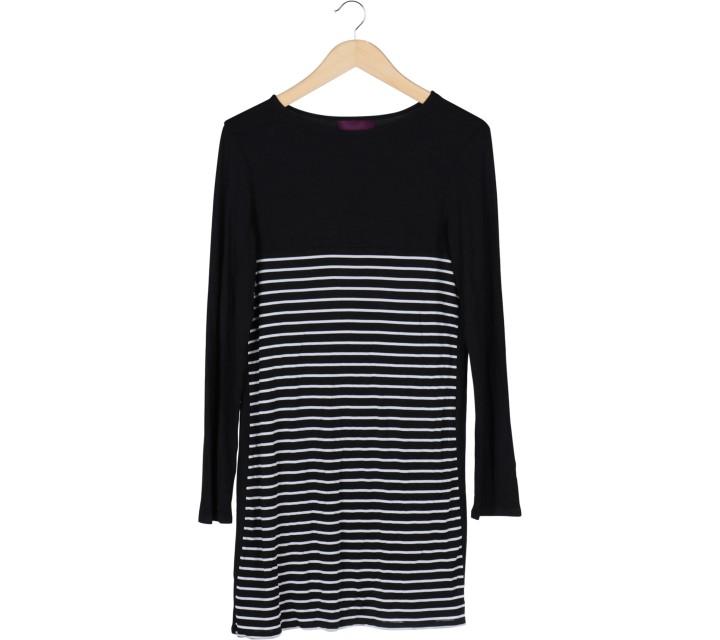 Ardistia New York Black And White Striped Midi Dress
