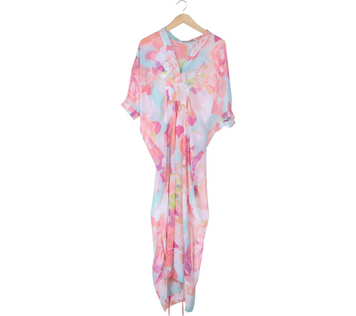 Febianihermaini Multi Colour Floral Tied Caftan Long Dress