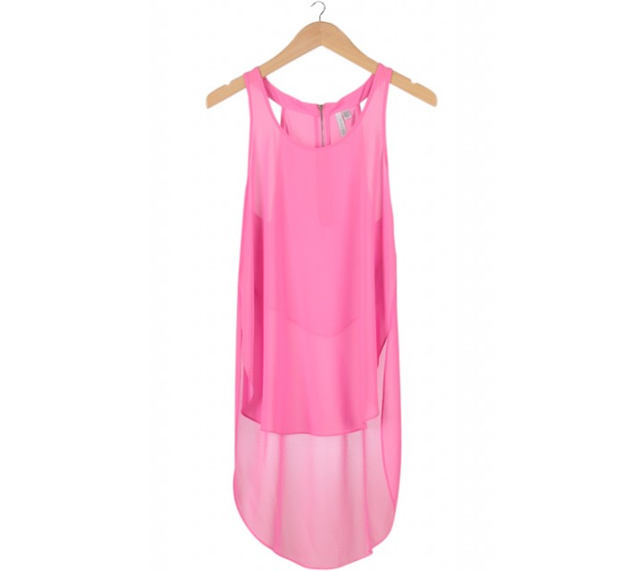 Pink Sleeveless Long Tail Top