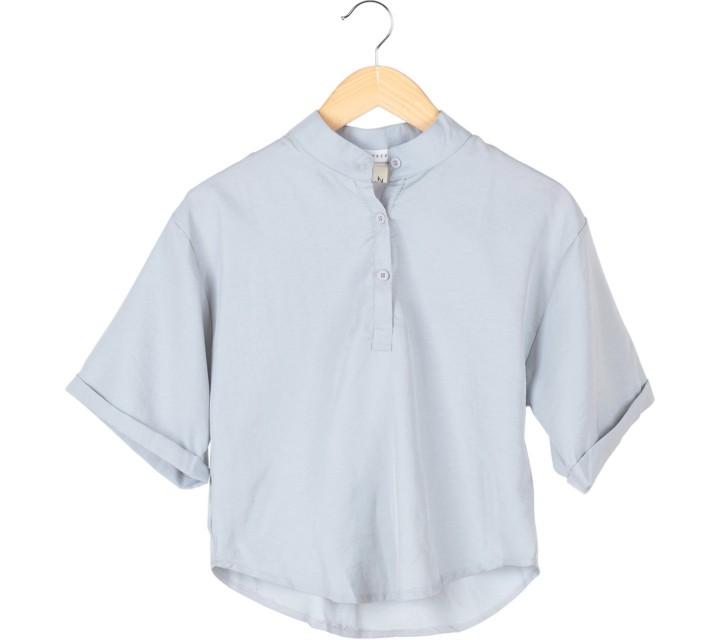 Tinkerlust Grey Mandarin Collar Blouse