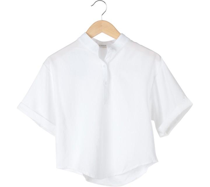 Tinkerlust White Mandarin Collar Blouse