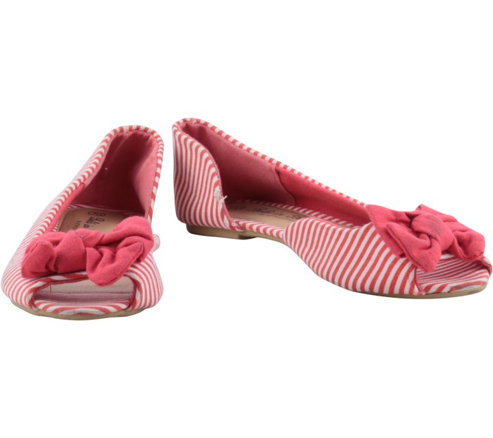 Atmosphere Red And White Striped Bow Detail Flats