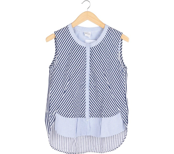 Petite Cupcake Blue And White Striped Sleeveless