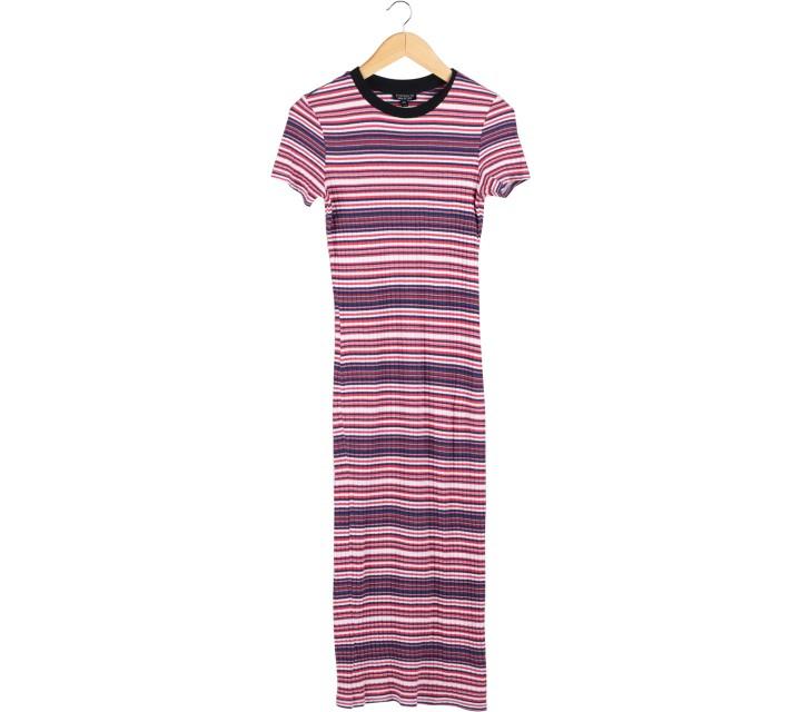 Topshop Multi Colour Striped Midi Dress