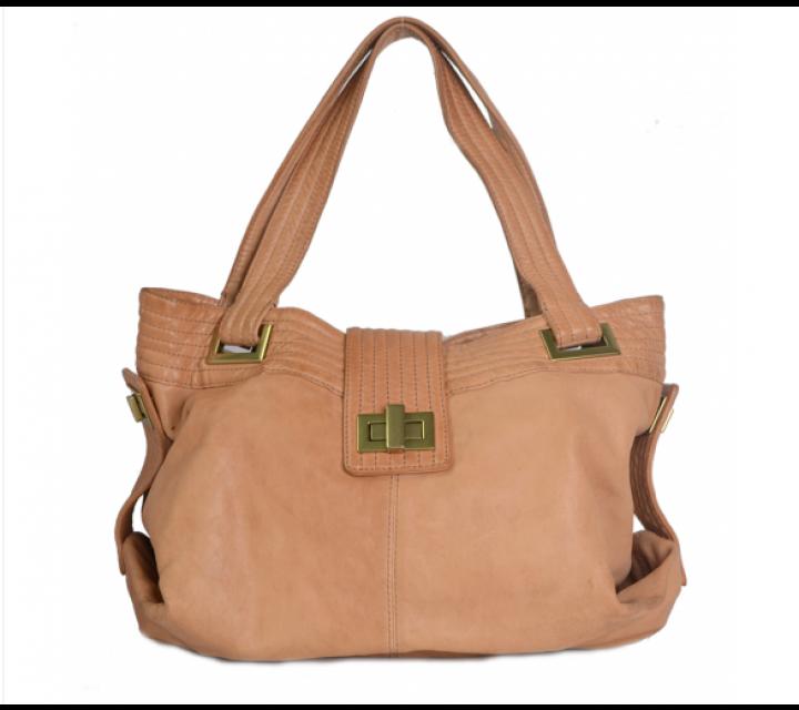 Kooba Brown in Saint-Hyachinte Leather Tote Bag