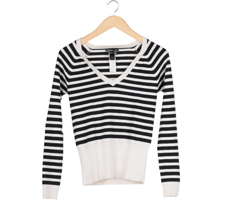 Mango Black And White Striped V-Neck Sweater