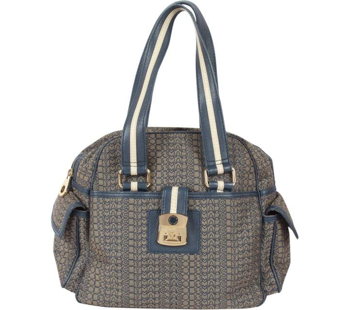 Marc Jacobs Blue And Brown Monogram Handbag