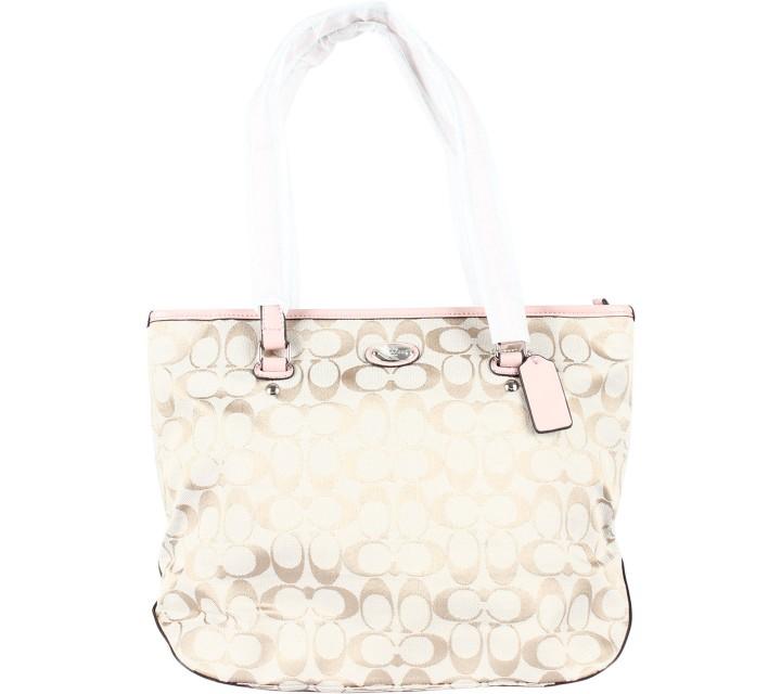 Coach Pink Signature Zip Top Tote Bag