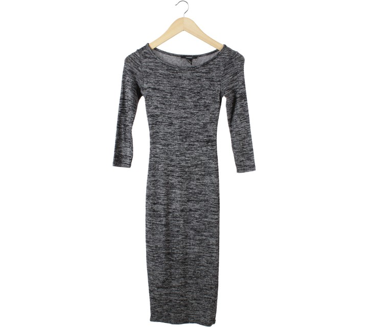 Forever 21 Black And Grey Midi Dress