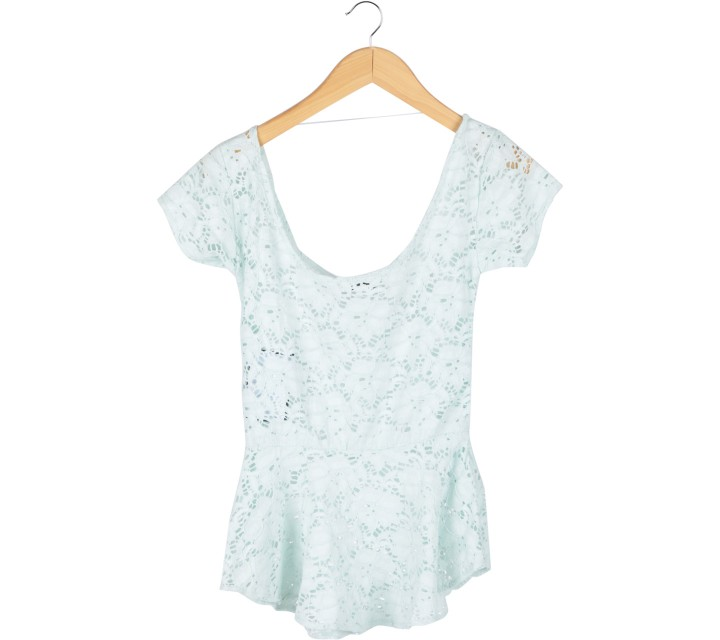 Schon Couture Green Lace Low Back Blouse