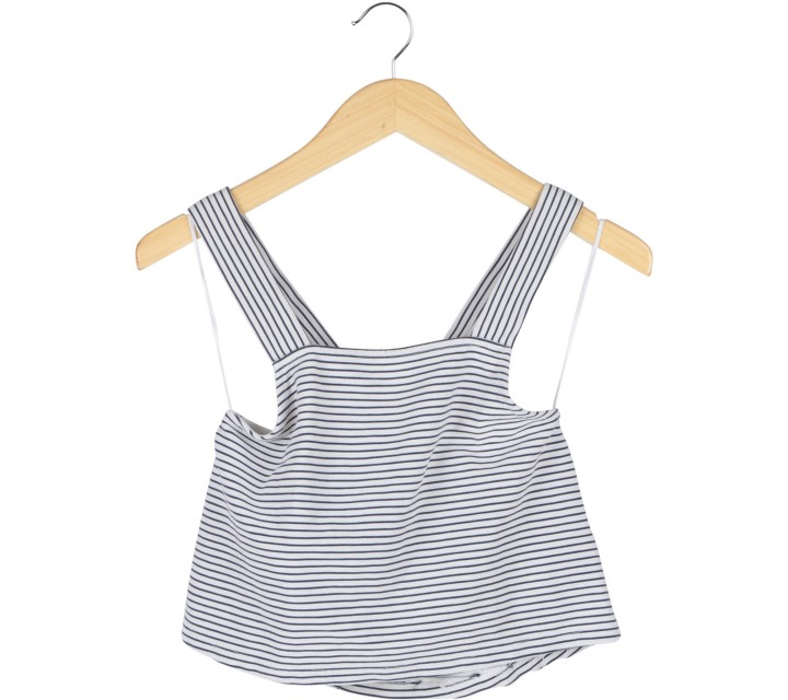 Zara Black And White Striped Cross Back Sleeveless