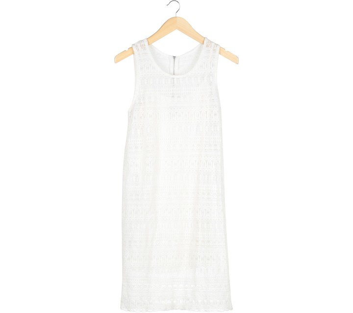 Mango Off White Crochet Midi Dress