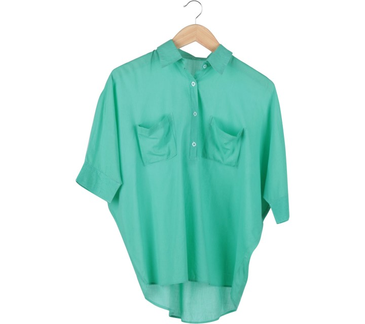 (X)SML Green Batwing Blouse