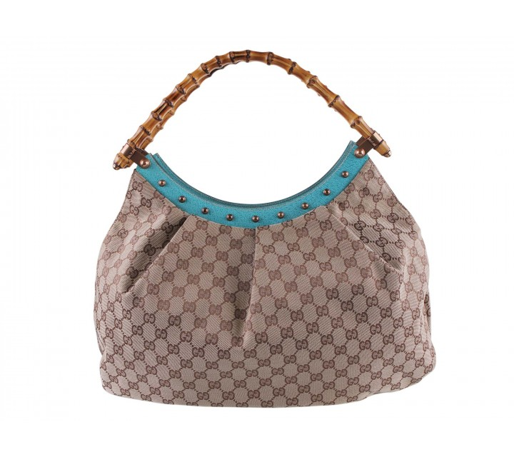 Gucci Brown And Turquoise Monogram with Bamboo Handle Shoulder Bag