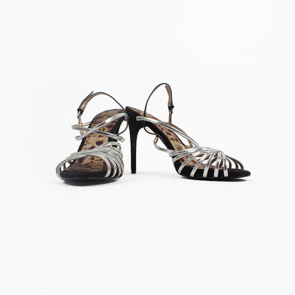 Sam Edelman Silver-Black Harlette Leather High Heel Sandals