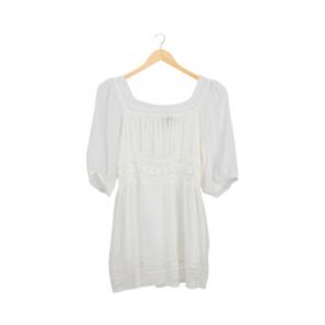 White Lace Square-Neck Blouse