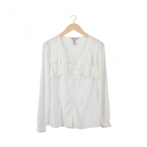 White Low Neckline Blouse