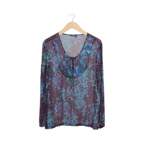 Purple Floral Scoop Neck Blouse
