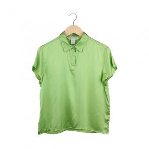 Green Silk Cape Sleeve Shirt