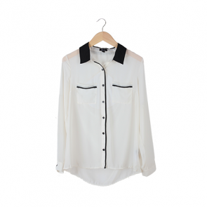 White & Black Plain Back Cut Out Shirt