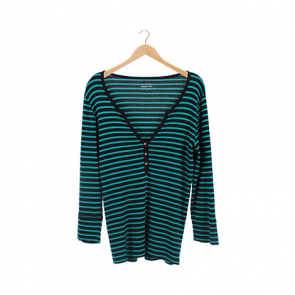 Blue and Green Striped V-Neck T-Shirt