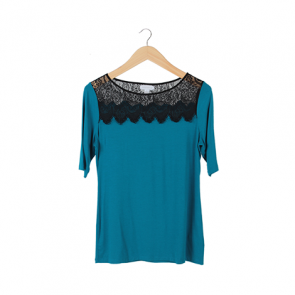 Blue Lace Short Sleeve Blouse