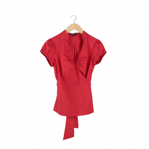 Red Plain Surplice Blouse