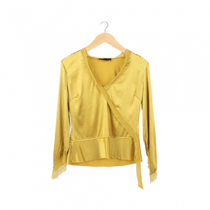 Lime Silk Wrapped Blouse