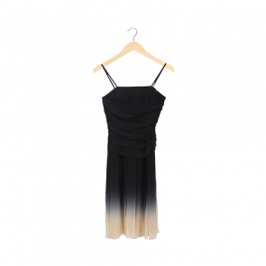 Black Ombre Silk Camisole Pleated Midi Dress