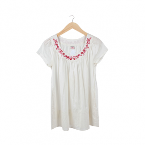 White Embroidered Flower Over Blouse