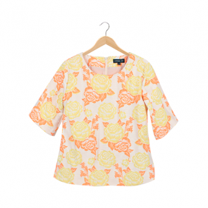 Multi Flower Pattern Short Sleeve Blouse