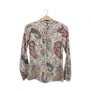 Beige Paisley Pattern Long Sleeve Shirt