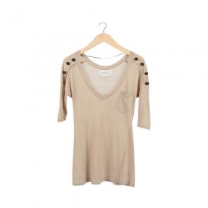 Brown Plain Decollete Neck T-Shirt