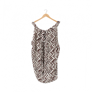 Brown and White Chevron Silk Sleeveless Blouse