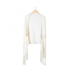 Cream Front-Pocket Batwing Outerwear