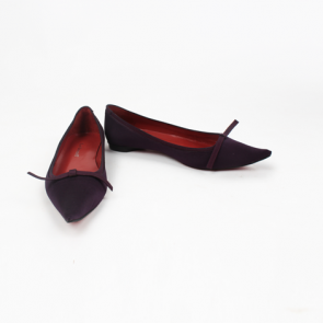 L.K Bennett Purple Pointed Leather Flats