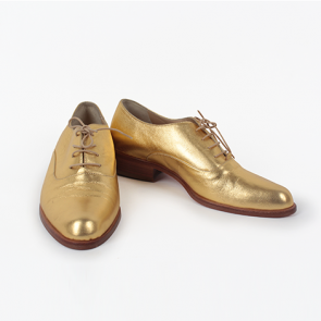 Hobbs Lace Gold Leather Oxford Shoes