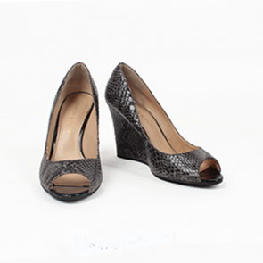 Charles and Keith Black and Grey Snake Skin Wedge