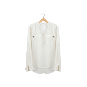 Ivory White Zip Pocket V-Neck Blouse