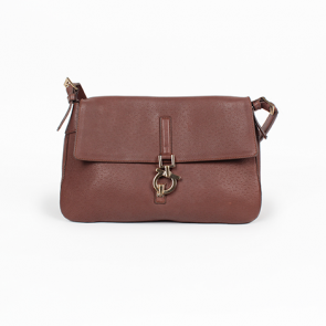 Salvatore Ferragamo Brown Gancio Leather Shoulder Bag