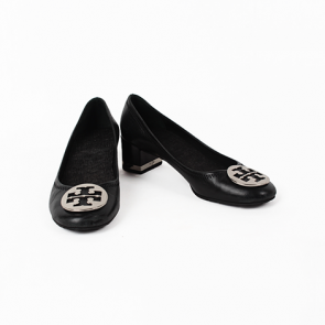 Tory Burch Amy Pump Black Leather Heels with Silver Logo
