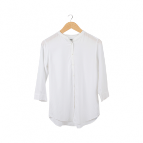 White Buttoned Loose-End Blouse