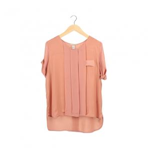 Peach Plain Short Sleeve Blouse